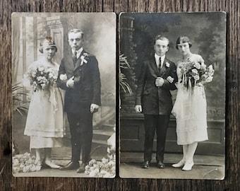 Pair of Original RPPC Antique Photographs The Marriages