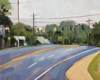 ORIGINAL Oil Painting-Plein Air-Urban Landscape-Modern art-Road trip-Interior decor-Impressionist-Affordable wall art-Office decor.