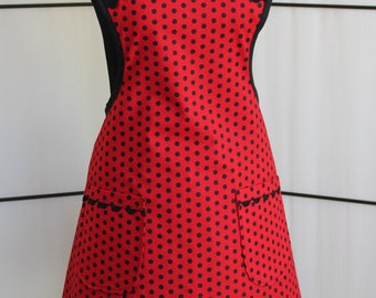 Vintage Style Red and Black Polka Dot Cotton Apron with two pockets