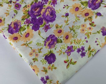 White and Purple Floral Print Soft Cambric Cotton - Digital Printed Indian Cotton Fabric - Dress Fabric-Printed Dress Cotton Fabric by Yard