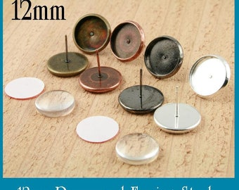 40 ct. 12mm Earring Stud Bezels. (20 pair total) - Blank Bezel - Ships from USA. Optional Glass (40) and Seals (40 or 80) offered.