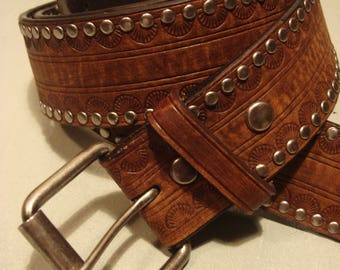 Vintage 1990s Brown Unisex Leather Belt With Studs
