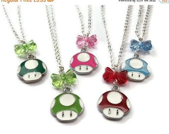 Mario Mushroom Necklace, Enamel Charm, Choice of 5 Colors