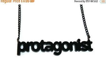 Protagonist Necklace, Literary Term, Novel, Books, Reading, Laser Cut Black Pendant, Perspex
