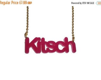 Hot Pink Kitsch Necklace, Quirky Bright Word Pendent, Laser Cut Statement Piece, Perspex
