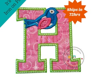 Pink inital letter h with blue songbird iron on applique, Machine embroidered iron on monogram letter h for girls, pink and green letter