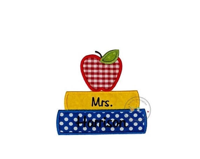 ON SALE NOW Stack of book and a red apple iron on fabric back to school applique, primary color back to school no sew patch for kids clothin