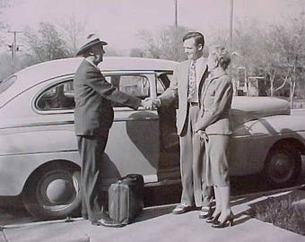 Darling 1950's Era Photograph of Salesman in Front of Vintage Car
