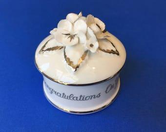 Sweet Little Crown Staffordshire Silver Wedding Anniversary Trinket Box