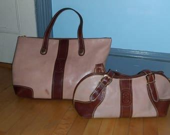 MARINO ORLANDI  2 bags  Italian leather tote  weekend bag, and matching shoulder bag Same hue