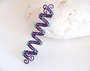 Purple Spiral Dread hair bead with Aventurine beads