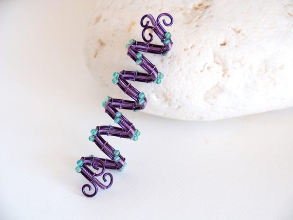 Purple Spiral Dread hair bead Rasta hair jewelry dreadlocks cuff accessories wire wrapped Viking beads loc cuff Hippie Braids Decoration