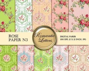 Sale 60% Floral Digital Scrapbook Paper pack ROSE Shabby Chic flowers Printable Scrapbook background shabby chic digital paper background ro