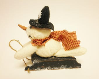 Sledding Snowman, Primitive Snowman on Sled,  Winter Decorations, Country Christmas Decor