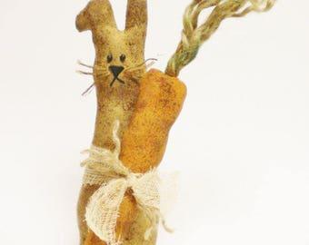 Primitive Rabbit, Spring Decor, Bunny with Carrot, Easter Decor, Country Farmhouse Decor