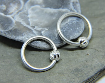 Cartilage Rings - 1 or SET of 2 - Solid .925 Sterling Silver Ear Jewelry 14G Beaded Captive Ring - Tragus Helix Daith Rook Snug