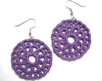 Purple Round Lace Earrings - Floral Circle - Egyptian Cotton - Violet Crochet Retro Modern Mandala Statement Boho Kitsch