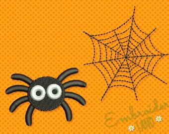 Two Mini Designs! Machine Embroidery Designs Spider and Spiderweb HAL022