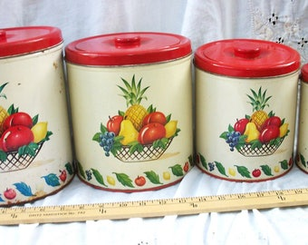 Sweet Vintage 4 Piece Canister Set ~ Red and Cream with 1950's / 1940's Fruit Decor ~ Glamping / Cottage / Farmhouse