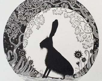 Ink Hare Illustration circle shaped original hare drawing and pen and ink and black and white hare drawing and moon with hare and hare art