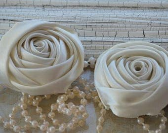 "2"" Satin Fabric Roses, Ivory Satin Rolled Rosettes, Satin Roses, Rolled Roses, Fabric Flowers, Satin Flowers, Satin Rosettes, 30 Colors"