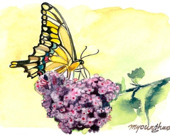 ACEO Limited Editions 2/25- Butterfly on lilac, Flower art print from a watercolor ACEO painting by Anna Lee, Gift idea for her