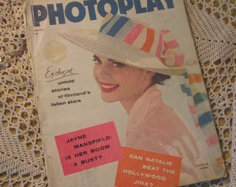 Vintage Photoplay Magazine,  August 1957, Natalie Wood , Jayne Mansfield