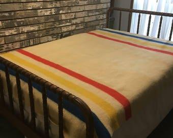 Vintage Wool Blanket / Penneys Wool Blanket / Vintage Striped Wool Blanket / Trader Wool Blanket / Golden Dawn Wool Blanket / Wool Blanket