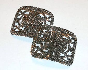 Victorian Shoe Buckles, Cut Steel, Made in France
