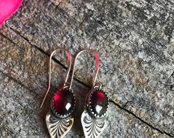 Victorian Drop Earrings - Garnet