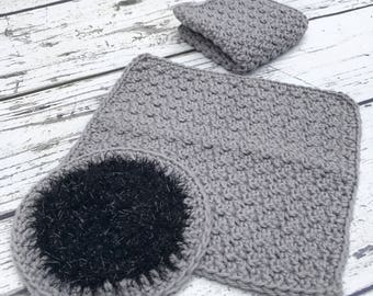 Crochet Dishcloths and Scrubby Set, Cotton Washcloths for Kitchen or Bathroom, Set of 3 Ready To Ship