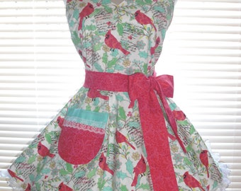 Retro Apron Holiday Apron Winter Whimsy Coral Birds on White Extra Wide Flirty Skirt with Satin Edged Organza Trimming