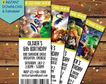 Lego Superhero Invitation Avenger Marvel Invitations Avengers Party