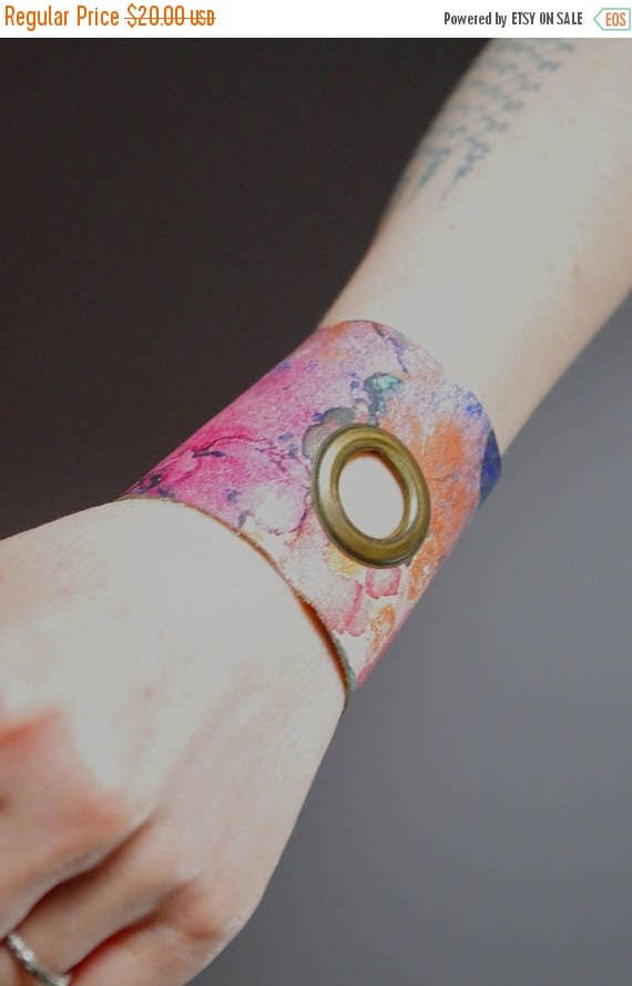 ON SALE Abstract Leather Cuff Bracelet - Leather Cuff Bracelet - Leather Cuff - Summer Accessories - Pink Leather Cuff