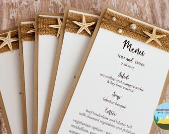 Rustic Ocean Menu Card, Starfish Wedding Menus, Burlap Menu Cards, Rustic Beach Wedding Decor, Custom Wedding Menu, Starfish Menu Cards