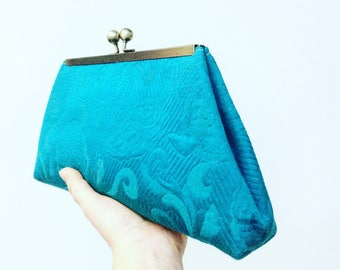 Turquoise Framed Clutch, Metal framed clutch, evening bag, kisslock clutch, vintage fabric clutch, wedding bag, bridal bag, bridesmaids bag