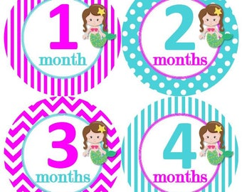 Baby Monthly Milestone Growth Stickers Hot Pink Turquoise Mermaids Nursery Theme MS638 Baby Shower Gift Baby Photo Prop