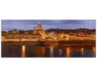 Traditional Wall Art 'Midnight in Florence' by Trish Savides - Italian City Decor Old World Colonial Artwork on Metal or Plexiglass