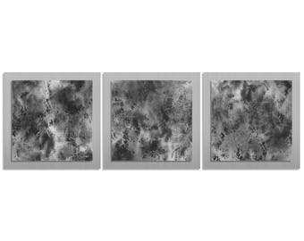 Metal Wall Artwork 'Slate Essence' - 38x12 in. - Contemporary Décor - Modern Charcoal Grey & Silver Decor