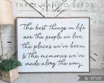 """living room decor   Best Things sign   wood sign   farmhouse wall decor   framed sign   living room wall decor   25"""" x 33"""" Industrial Chic"""