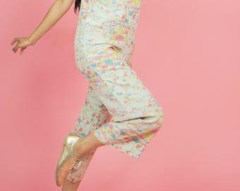 Vintage Jumpsuit, Jumpsuit, Vintage Jumpsuit, Jumpsuit, Pastel Jumpsuit, Sleeveless Jumpsuit, Vintage Jumpsuit