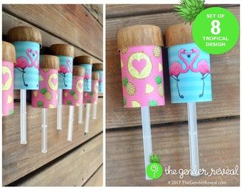 Tropical Confetti Push-Pops for Gender Reveal Parties - Set of 8