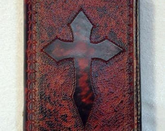 IN STOCK Concealed Handgun Leather Pistol Case with Hand Tooled Cross Pattern