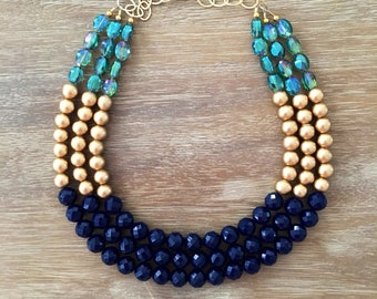 Statement Necklace Bridesmaid Jewelry DATE NIGHT Necklace Wedding Jewelry Statement Jewlery NAVY Necklace Bib Necklace
