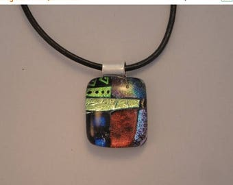 Christmas in July Sale Fused Dichroic Glass Multi-Colored Pendant - BHS03626