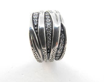 Sterling Fashion Ring Clear Sparkling Gemstones Interesting Wrap Around Recessed Folds Design Signed 925 India