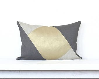 "Metallic Linen  ""Opposite Angles"" Modern Colorblocked Pillow Cover - Gold  Metallic / Dk. Grey Combo"