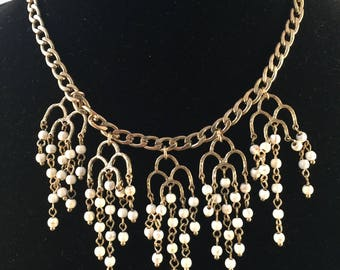 Gold And White Beaded Bib Necklace, Dangle Necklace, Vintage Jewelry, Statement Piece, Special Occasion, Day Or Evening Wear