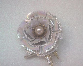 White Iridescent Enamel Flower Brooch, Large Vintage Brooch