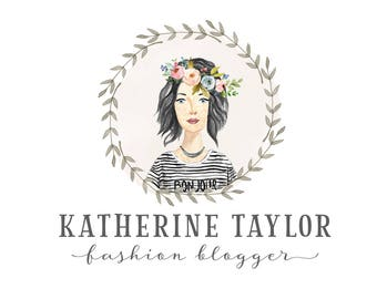 Personalized portrait logo, premade custom avatar, logo character, blog and social media profile image, Floral Portrait logo 418